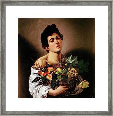 Boy With A Basket Of Fruit Framed Print