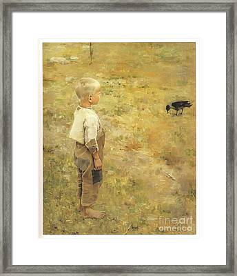 Boy With A Crow Framed Print by Akseli Gallen-Kallela