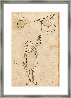 Boy With Bird Framed Print