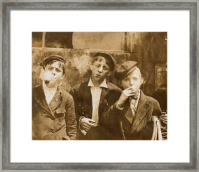 Boys Smoking, Original Caption A.m Framed Print by Everett