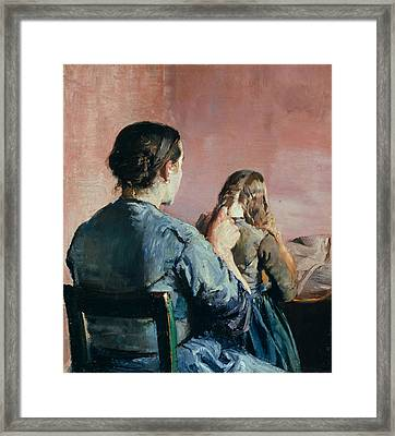 Braiding Her Hair Framed Print by Christian Krohg
