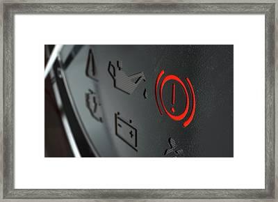 Brake Dashboard Light Framed Print by Allan Swart