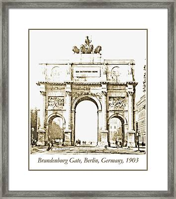 Brandenburg Gate, Berlin Germany, 1903, Vintage Image Framed Print