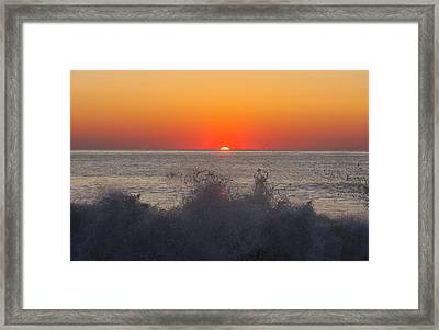 Breaking Wave At Sunrise Framed Print by Allan Levin