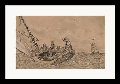 Sailboat Ocean Drawings Framed Prints