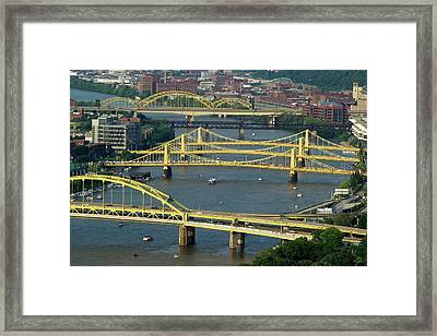 Bridges Of Pittsburgh Framed Print by Frozen in Time Fine Art Photography