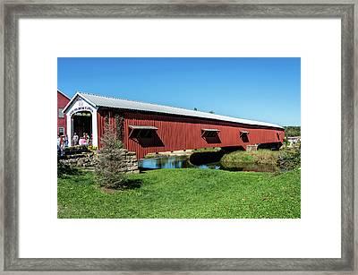 Bridgeton Covered Bridge Framed Print by Denny Riffert