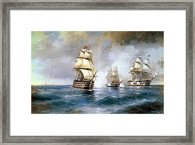 Brig Mercury Attacked By Two Turkish Ships Framed Print by MotionAge Designs