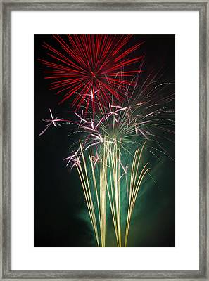 Bright Colorful Fireworks Framed Print