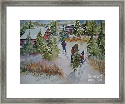 Framed Print featuring the painting Bringing In The Tree by Sandra Strohschein