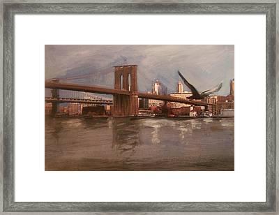 Brooklyn Bridge Framed Print by Anita Burgermeister