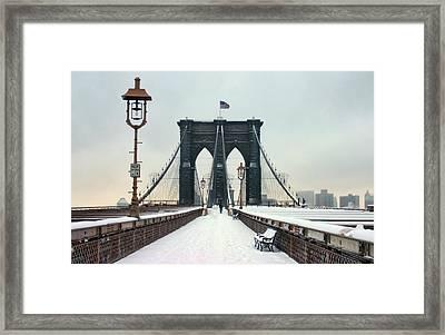 Brooklyn Bridge Framed Print by June Marie Sobrito