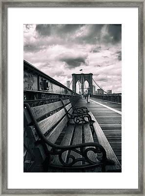 Brooklyn Bridge Mood Framed Print by Jessica Jenney