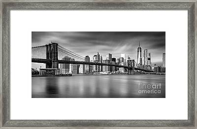 Brooklyn Bridge Panorama Framed Print by John Farnan