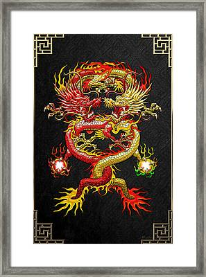 Brotherhood Of The Snake - The Red And The Yellow Dragons Framed Print by Serge Averbukh