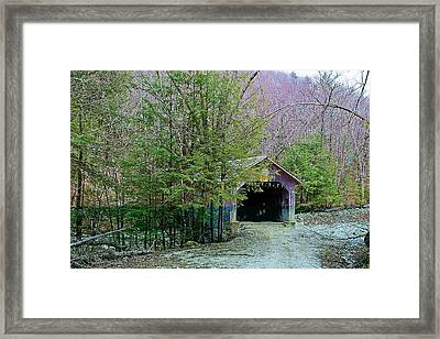 Brown Covered Bridge Framed Print by Wayne Toutaint