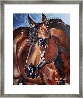 Brown Horse  Framed Print by Maria's Watercolor