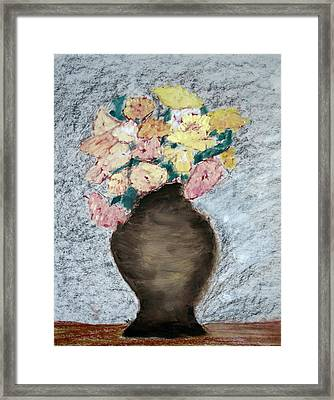 Framed Print featuring the painting Brown Urn by Patricia Cleasby