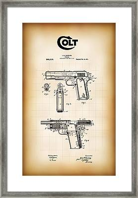 Browning Colt 45 Model 1911 Patent Framed Print by Daniel Hagerman