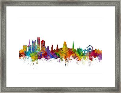 Brussels Belgium Skyline Framed Print by Michael Tompsett