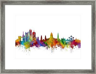 Brussels Belgium Skyline Framed Print