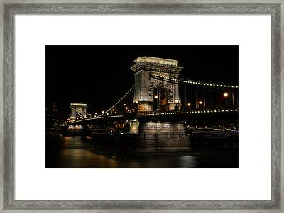 Framed Print featuring the photograph Budapest At Night. by Jaroslaw Blaminsky