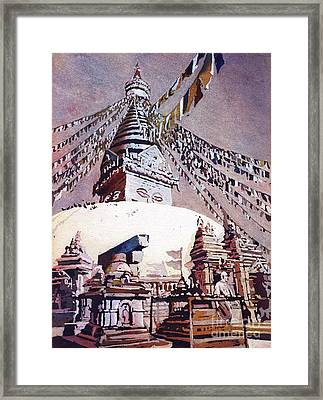 Framed Print featuring the painting Buddhist Stupa- Nepal by Ryan Fox