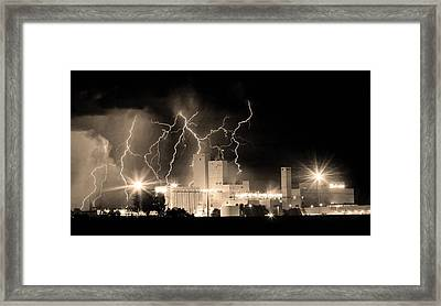 Budweiser Lightning Thunderstorm Moving Out Bw Sepia Panorama Framed Print