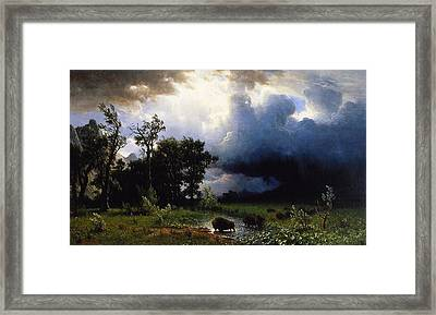 Buffalo Trail  The Impending Storm Framed Print by Albert Bierstadt