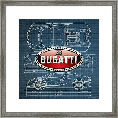 Bugatti 3 D Badge Over Bugatti Veyron Grand Sport Blueprint  Framed Print by Serge Averbukh