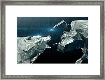 Bull Bear Chiseled Figures  Framed Print by Allan Swart