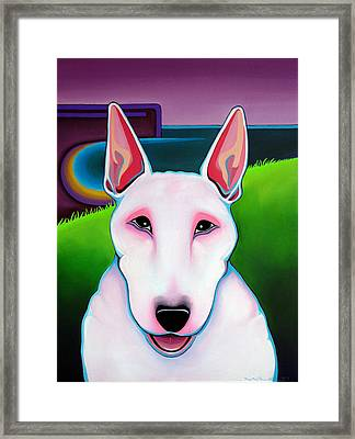 Framed Print featuring the painting Bull Terrier by Leanne WILKES
