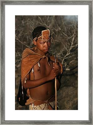 Bushmen Hunter Framed Print by Miranda  Miranda