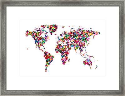 Butterflies Map Of The World Framed Print by Michael Tompsett