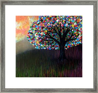 Button Tree 0004 Framed Print by Monica Furlow