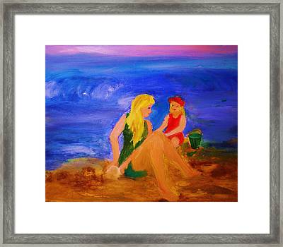 Framed Print featuring the painting By The Sea by Evelina Popilian