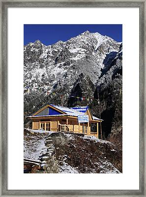 Framed Print featuring the photograph Meeting Point Mountain Restaurant by Aidan Moran