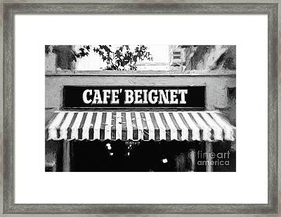 Cafe Beignet - Digital Painting Bw Framed Print
