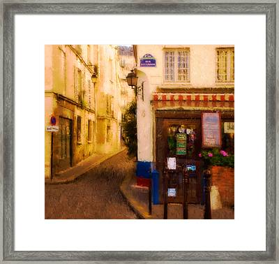 Cafe On The Rue Des Ursins Framed Print