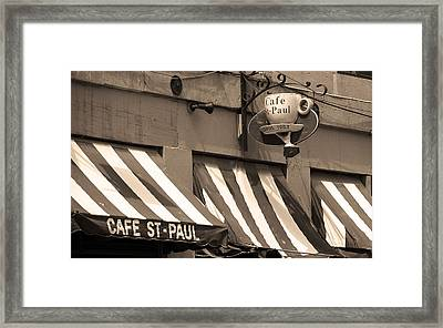 Cafe St. Paul - Montreal Framed Print by Frank Romeo