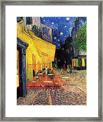 Cafe Terrace Place Du Forum At Night Framed Print by Vincent Van Gogh
