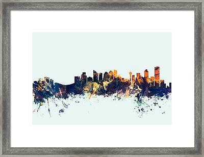 Calgary Canada Skyline Framed Print by Michael Tompsett