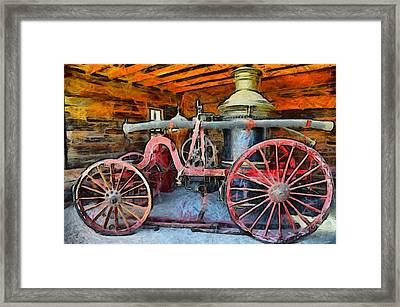 Calico Ghost Town Fire Engine Framed Print by Barbara Snyder