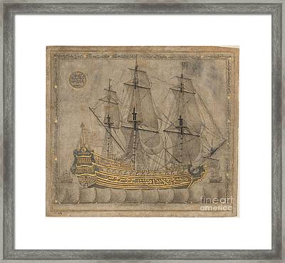 Calligraphic Galleon Framed Print by Celestial Images