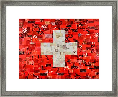 Swiss Flag Framed Print by Claudia Di Paolo