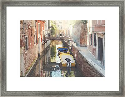 Canals Of Venice With Instagram Vintage Style Filter Framed Print by Brandon Bourdages