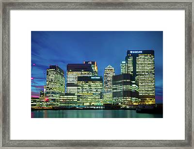 Framed Print featuring the photograph Canary Wharf by Stewart Marsden