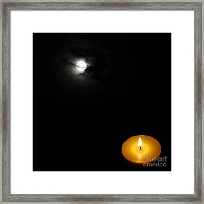 Candle Light Vs Moon Light Framed Print by Celestial Images