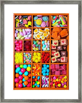 Candy In Compartments Framed Print by Garry Gay