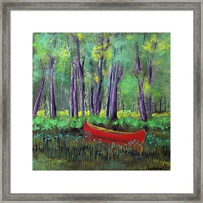 Canoe Among The Reeds Framed Print by David Patterson